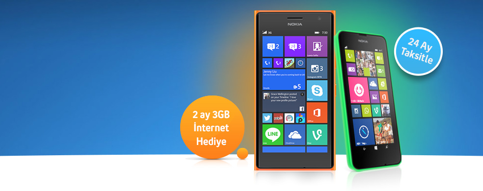 Ilk 5 Ay Taksit Bizden!Nokia Lumia 630 ve Nokia Lumia 735 alanlara ilk 5 ay taksit bizden kampanyasi!