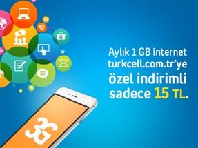 turkcell.com.tr'ye Özel İndirimli İnternet Paketleri Aylık 1GB