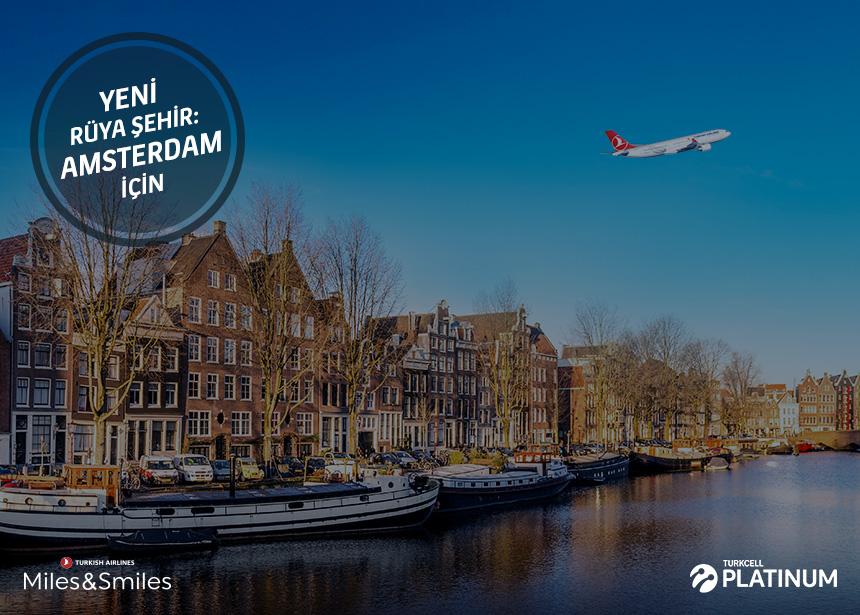 Amsterdam biletiniz için 20.000 Mil ve Vergiler Bizden