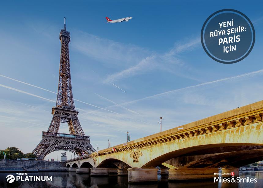 Paris biletiniz için 20.000 Mil ve Vergiler Bizden