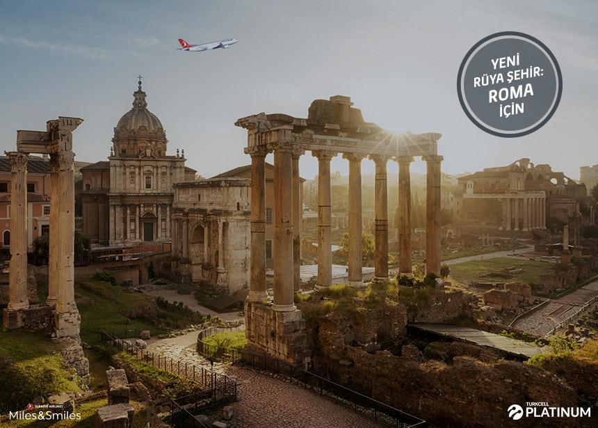 Roma biletiniz için 20.000 Mil ve Vergiler Bizden