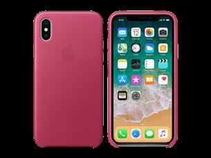 Apple iPhone X Deri Kılıf Fuşya