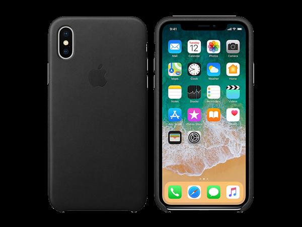 Apple iPhone X Deri Kılıf Siyah
